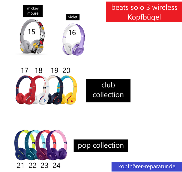 beats solo 3 wireless Kopfbügel: club collection, pop collection